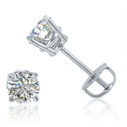 AGS Certified 1/2ct TW Round Diamond Stud Earrings in 14K Wh