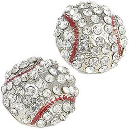 FTA Baseball Earrings for Women: Rhinestone Stud Earring Set