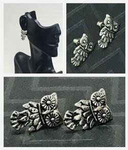 Beautiful Women's Embossed Metal Silver Tone OWL STUD EARRIN