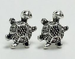 Beautiful Women's Embossed Metal Silver Tone TURTLE STUD EAR