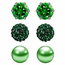 JewelrieShop Birthstone Studs Earring Set Cubic Zirconia 6 5