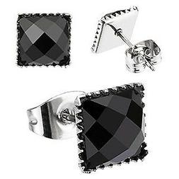 BLACK PRINCESS SIMULATED DIAMOND STEEL PRONG STUD EARRINGS 4