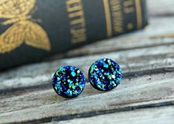12mm . Blue Metallic Faux Druzy Stud Earrings . Hypoallergen
