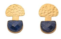 Brand New 18K Gold Plated Hammered Top Earrings w/MultiFacet