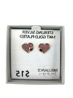 Brilliance Fine Jewelry 14k Gold Plated Sterling Silver Stud