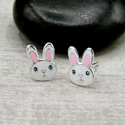 Bunny Rabbit Post Earrings - 925 Sterling Silver - Easter Wh