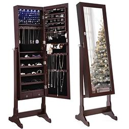 SONGMICS 6 LEDs Jewelry Cabinet Lockable Standing Mirrored J