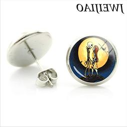 CHITOP Cartoon Jack Skellington and Sally Stud Earrings -The