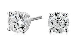 Certified 14k White Gold Diamond with Screw Back and Post St