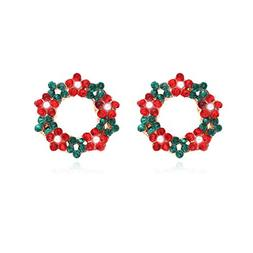 christmas wreath stud earrings plated