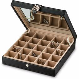 Glenor Co Earring Organizer - Classic 25 Section Jewelry Box