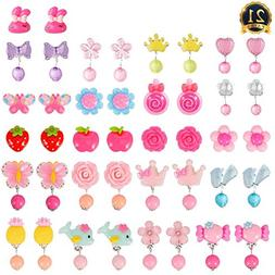 21 Pairs Clip-on Earrings Girls Play Earrings With Different