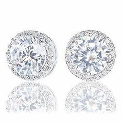 ORROUS & CO 18k Gold Plated Cubic Zirconia Round Halo Stud E