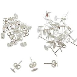 TOAOB 300 Pairs Crafts Stainless Steel Earrings Posts Flat P