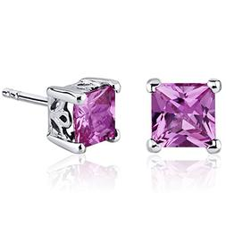 Created Pink Sapphire Princess Stud Earrings Sterling Silver