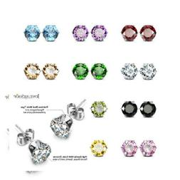 JewelrieShop Cubic Zirconia Earrings Birthstone Stud Earring