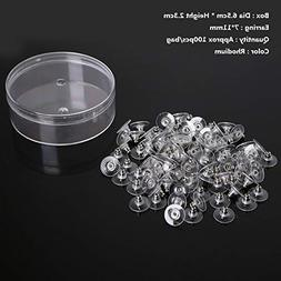 Laliva 100Pcs 7x11mm Earring Findings Post Nuts Rhodium Gold