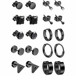 LOYALLOOK Earrings 10Pairs Stainless Steel For Men Tiny Ball