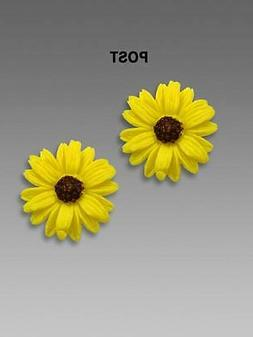 Sienna Sky Earrings Handmade Bright Yellow Sunflower Studs P