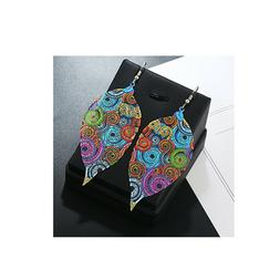Exaggerated Earrings Chic Color Painting Leaf Stud Earrings