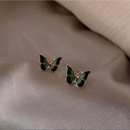 Exquisite Vivid Butterfly Enamel Stud Earrings Chic Yellow G