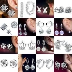 Fashion 925 Sterling Silver Crystal Stud Earrings Studs Wome