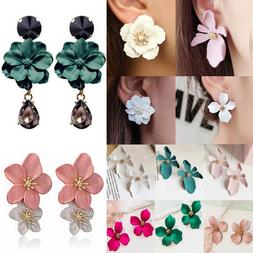 Fashion Boho Painting Big Flowers Ear Stud Earrings Women Ch