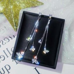 Fashion Long Tassel Crystal Earrings Women Butterfly Drop Da