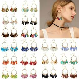 Fashion Natural Stones Ring Drop Dangle Ear Stud Earring Wom