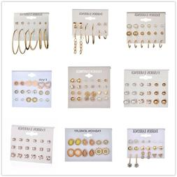 fashion women pearl rhinestone multi shape stud