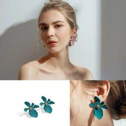 Fashion Women's Sweet Paint Metal Flower Irregular Petal Sma