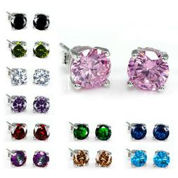 Female Multicolor Round Sapphire Stud Earrings 925 Silver We
