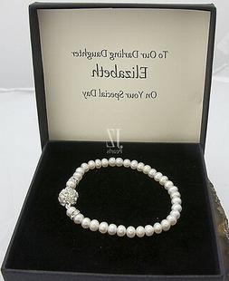 Freshwater Cultured Pearl Bracelet with Rhinestone Clasp & S