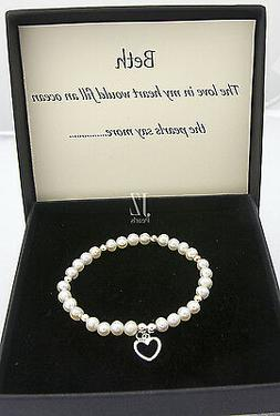 Freshwater Cultured Pearl Bracelet with S/Silver Heart Charm