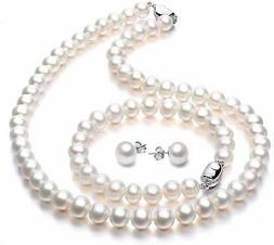 Freshwater Cultured Pearl Necklace Set Stunning Bracelet & S