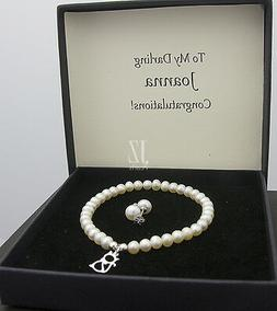 Freshwater Pearl Bracelet with S/Silver Cat Charm and S/Silv