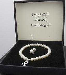 freshwater pearl bracelet with s silver cat