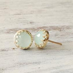 Gold Jade Earrings Light Green Stud 14k Gold Filled Crown Je