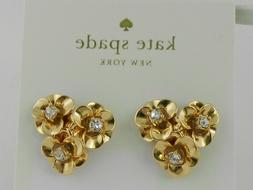 gold tone pave flower cluster stud earrings