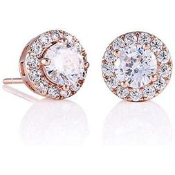GULICX Halo Stud Opal Earrings Rose Gold Plated Round CZ Cub