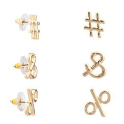 Lux Accessories Hashtag & # % Percent Symbol Stud Earrings S