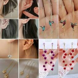 Hummingbird Earrings Stud Threader Long Drop Tassel Crystal