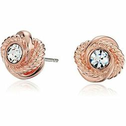 """""""Infinity And Beyond"""" Clear/Rose Gold Knot Stud Earrings Jew"""