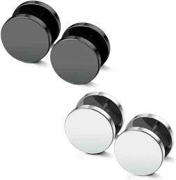JewelrieShop Black Earrings Men Dot Studs Fake Gauges Plugs