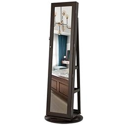 SONGMICS Jewelry Cabinet Armoire 360° Rotatable Higher Mirr