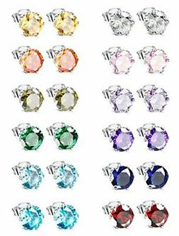 Jstyle Jewelry Stainless Steel Womens CZ Stud Earings Set