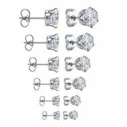 Jstyle Jewelry Women's Stainless Steel Round Clear Cubic Zir