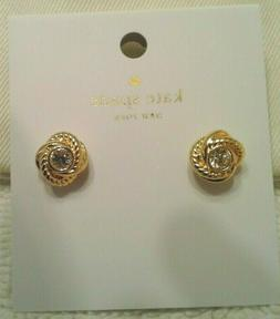 KATE SPADE N.Y. INFINITY AND BEYOND GOLD KNOT CRYSTAL STUD E