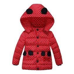 Kids Girls Coats Clothes Padded Infant Minnie Dot Warm Outer