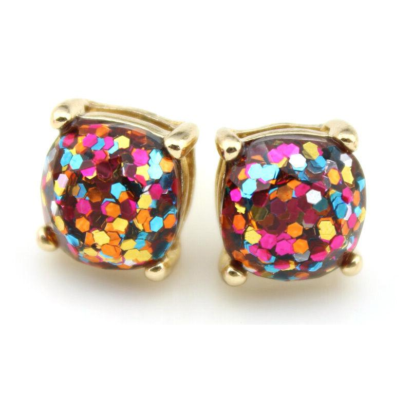 1 *1cm Women Fashion Boxed Plated Glitter Small Earrings